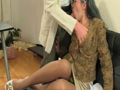 Mature milf in stockings sucks and fucks younger guy