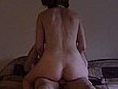 Hot mature chick gets plowed by a bald dude with a big cock. She is really dirty and lets him do everything he wants, he even takes a pic of the creampie he gave her.